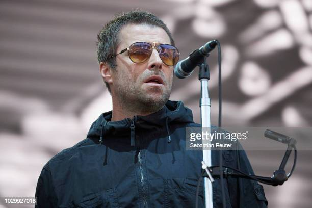 Liam Gallagher performs live on stage during the second day of the Lollapalooza Berlin music festival at Olympiagelaende on September 9 2018 in...