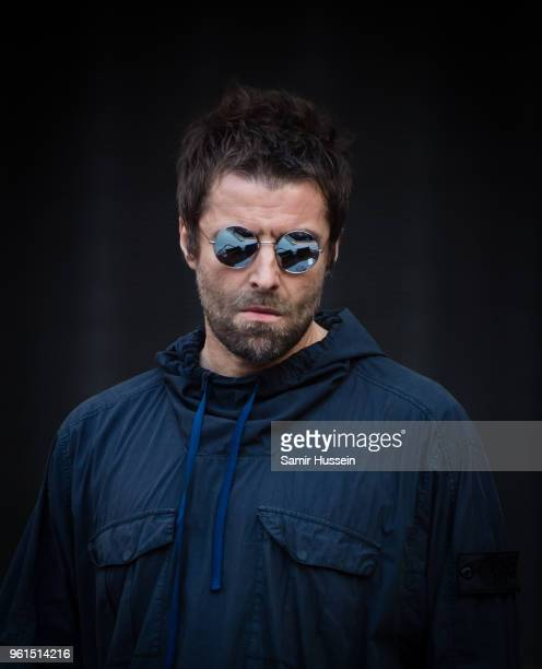 Liam Gallagher performs live on stage while supporting The Rolling Stones at London Stadium on May 22 2018 in London England