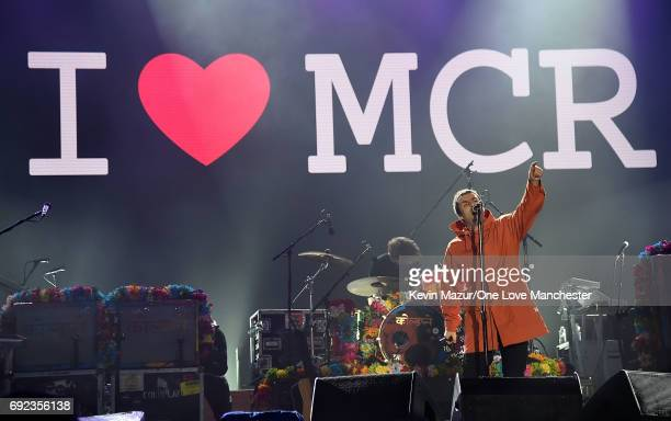 Liam Gallagher performs on stage during the One Love Manchester Benefit Concert at Old Trafford Cricket Ground on June 4 2017 in Manchester England