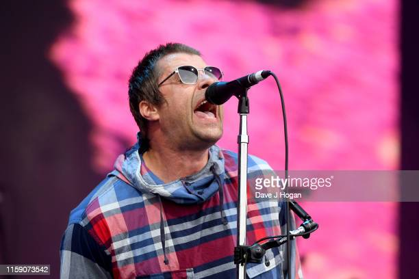 Liam Gallagher performs on the Pyramid stage during day four of Glastonbury Festival at Worthy Farm Pilton on June 29 2019 in Glastonbury England