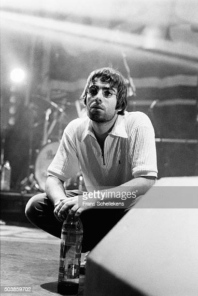 Liam Gallagher vocals performs with Oasis on January 10th 1996 at Vredenburg in Utrecht the Netherlands