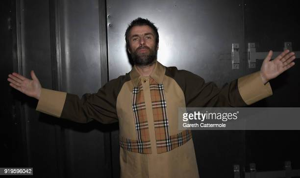 Liam Gallagher wearing Burberry at the Burberry February 2018 show during London Fashion Week at Dimco Buildings on February 17 2018 in London England