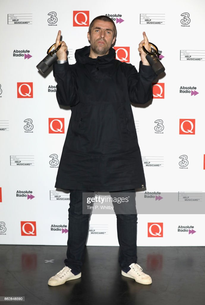 Liam Gallagher with the awards for Best Live Act and Q Icon during the Q Awards 2017, in association with Absolute Radio, at The Roundhouse on October 18, 2017 in London, England.