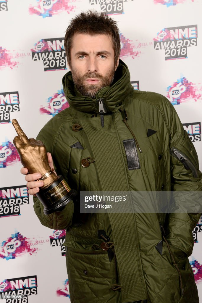 Liam Gallagher with the Godlike Genius award attends the VO5 NME Awards held at Brixton Academy on February 14, 2018 in London, England.
