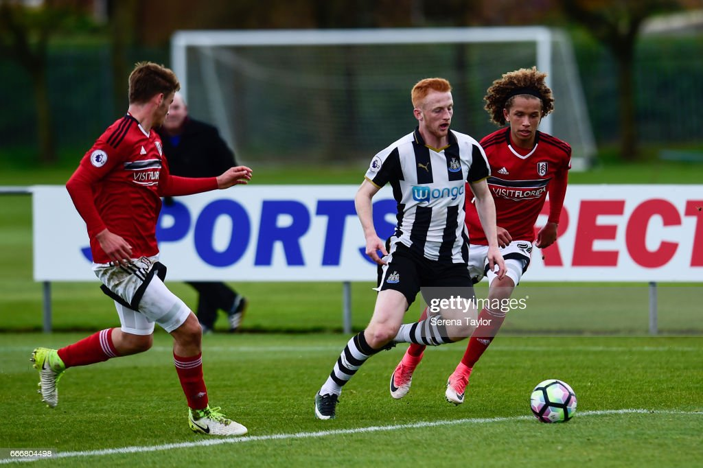 Liam Gibson of Newcastle (3) controls the ball during the Premier League 2 Match between Newcastle United and Fulham at Whitley Park on April 10, 2017 in Newcastle upon Tyne, England.