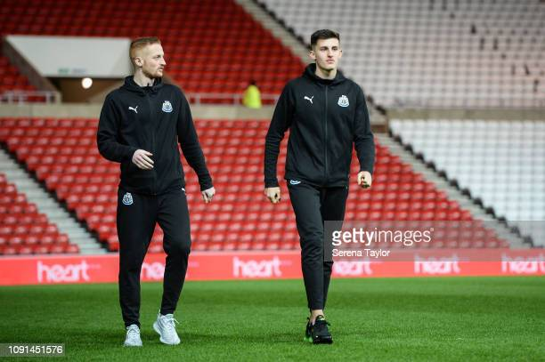 Liam Gibson of Newcastle United and Kelland Watts walk off the pitch during the Checkatrade Trophy Match between Sunderland AFC and Newcastle United...
