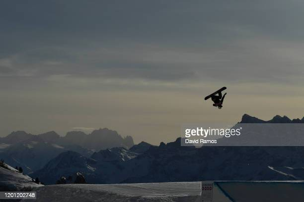 Liam Gill of Canada competes in Men's Snowboard Big Air Final Run during day 13 of the Lausanne 2020 Winter Youth Olympics at Leysin Park Pipe on...