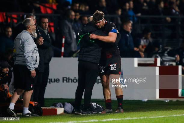 Liam Gill of Lyon and Pierre Mignoni Coach of Lyon during the Top 14 match between Lyon and Agen at Gerland Stadium on January 27 2018 in Lyon France