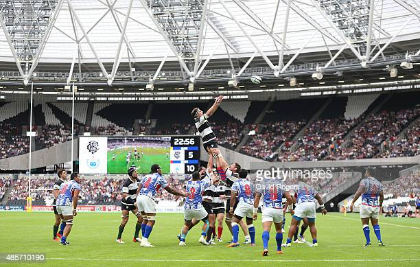 Liam Gill of the Barbarians wins the lineout during the Rugby Union match between the Barbarians and Samoa at the Olympic Stadium on August 29 2015...