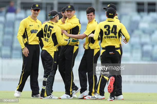 Liam Guthrie of the Warriors celebrates the wicket of Jack Weathrald of the Redbacks during the Marsh One Day Cup match between Western Australia and...