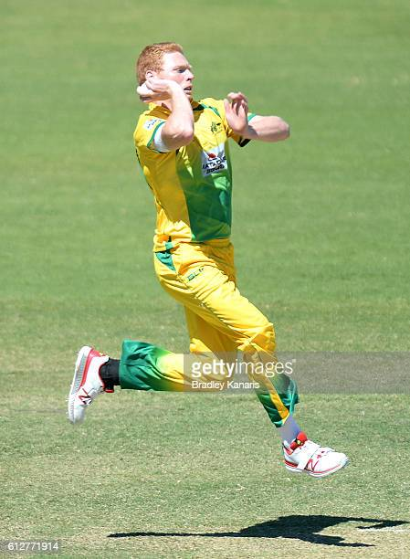 Liam Hatcher of the CA XI bowls during the Matador BBQs One Day Cup match between Tasmania and the Cricket Australia XI at Allan Border Field on...