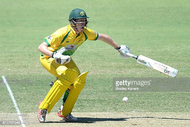 Liam Hatcher of the CA XI is struck by the ball during the Matador BBQs One Day Cup match between Tasmania and the Cricket Australia XI at Allan...