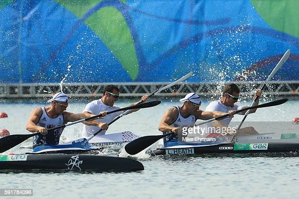 Liam Heath and Jon Schofield of Great Britain compete against Sebastien Jouve and Maxime Beaumont of France during the Men's Kayak Double 200m Final...
