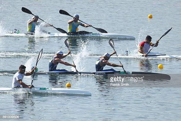 Liam Heath and Jon Schofield of Great Britain compete in the Men's Kayak Double 200m Heat 1 during Day 12 of the Rio 2016 Olympic Games at Lagoa...
