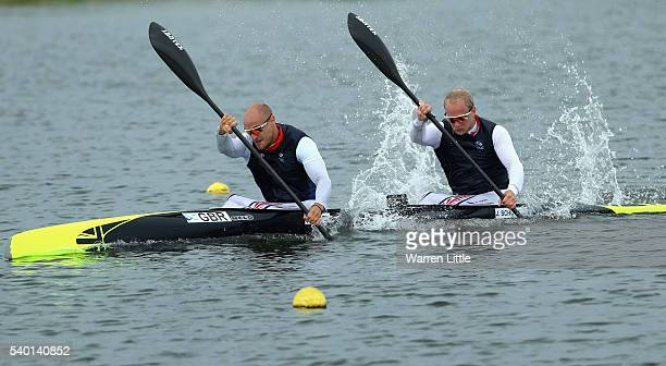 Liam Heath and Jon Schofield of Great Britain train ahead of an announcement of Canoe Sprint athletes named in Team GB for the Rio 2016 Olympic Games...