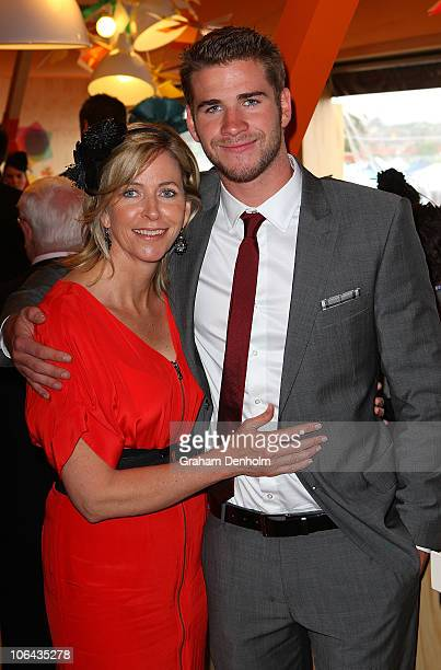 Liam Hemsworth and his mother Leonie attend the Myer marquee during Emirates Melbourne Cup Day at Flemington Racecourse on November 2, 2010 in...