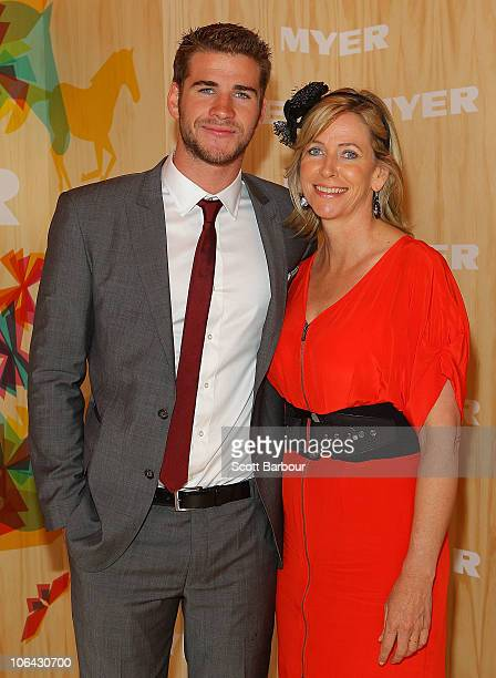 Liam Hemsworth and his mother Leonie Hemsworth attend the Myer marquee during Emirates Melbourne Cup Day at Flemington Racecourse on November 2, 2010...