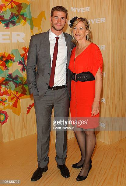 Liam Hemsworth and his mother Leonie Hemsworth attend the Myer marquee during Emirates Melbourne Cup Day at Flemington Racecourse on November 2 2010...