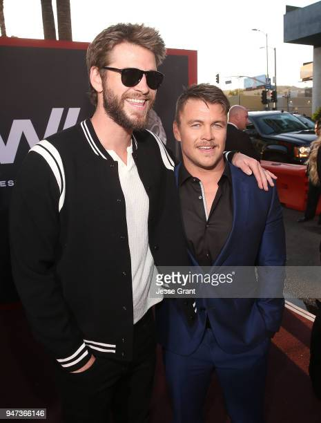 Liam Hemsworth and Luke Hemsworth attend the Premiere of HBO's Westworld Season 2 at The Cinerama Dome on April 16 2018 in Los Angeles California