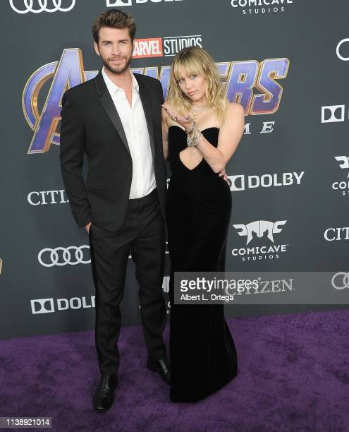 """Liam Hemsworth and Miley Cyrus arrive for the World Premiere Of Walt Disney Studios Motion Pictures """"Avengers: Endgame"""" held at Los Angeles..."""