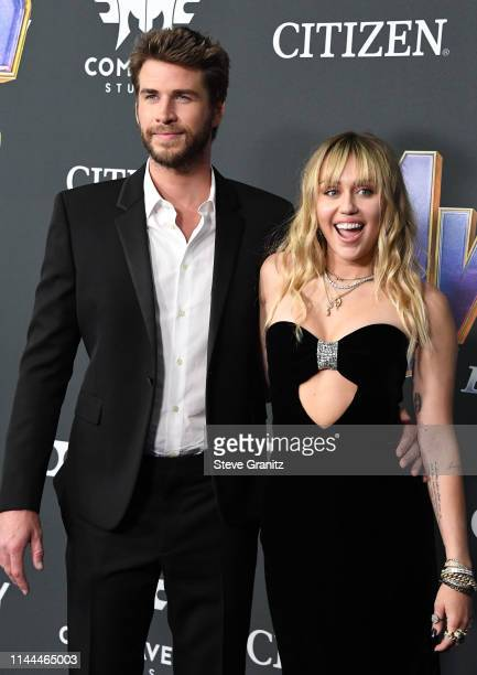 Liam Hemsworth and Miley Cyrus arrives at the world premiere Of Walt Disney Studios Motion Pictures Avengers Endgame at Los Angeles Convention Center...