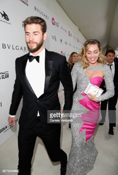 Liam Hemsworth and Miley Cyrus attend Elton John AIDS Foundation 26th Annual Academy Awards Viewing Party at The City of West Hollywood Park on March...