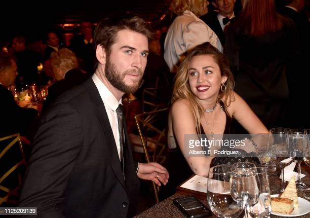 Liam Hemsworth and Miley Cyrus attend the 16th annual G'Day USA Los Angeles Gala at 3LABS on January 26 2019 in Culver City California
