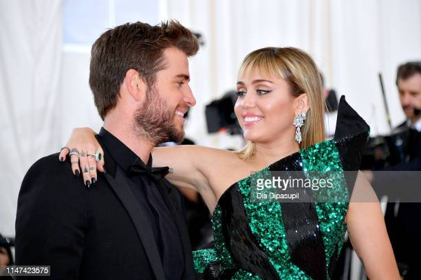 Liam Hemsworth and Miley Cyrus attend The 2019 Met Gala Celebrating Camp Notes on Fashion at Metropolitan Museum of Art on May 06 2019 in New York...