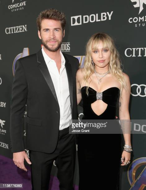 Liam Hemsworth and Miley Cyrus attend the Los Angeles World Premiere of Marvel Studios' Avengers Endgame at the Los Angeles Convention Center on...