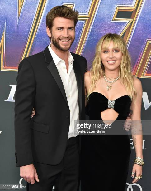 Liam Hemsworth and Miley Cyrus attend the World Premiere of Walt Disney Studios Motion Pictures 'Avengers Endgame' at Los Angeles Convention Center...