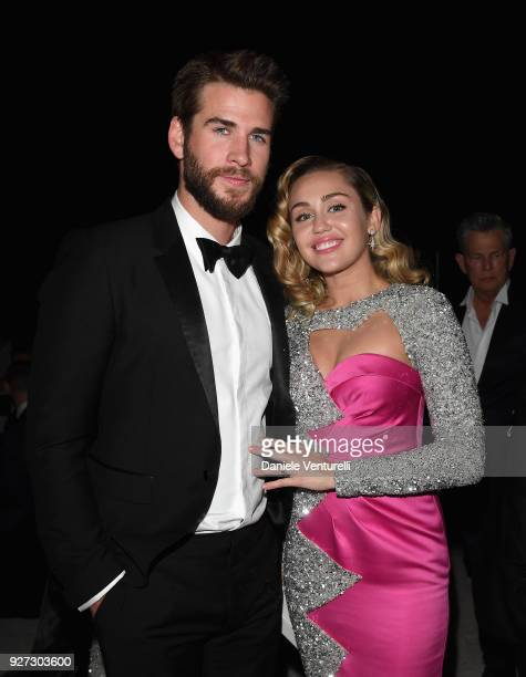 Liam Hemsworth and Miley Cyrus attends Elton John AIDS Foundation 26th Annual Academy Awards Viewing Party at The City of West Hollywood Park on...