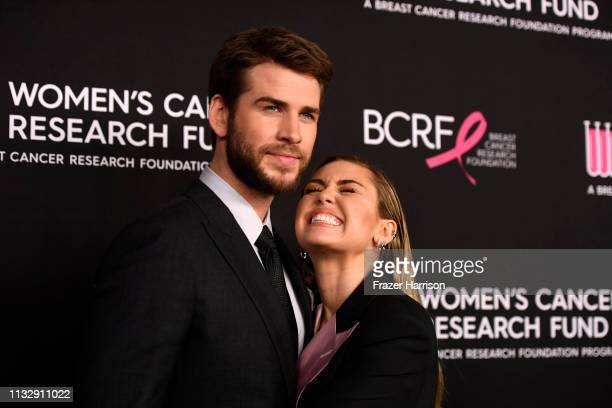 Liam Hemsworth and Miley Cyrus attends The Women's Cancer Research Fund's An Unforgettable Evening Benefit Gala at the Beverly Wilshire Four Seasons...