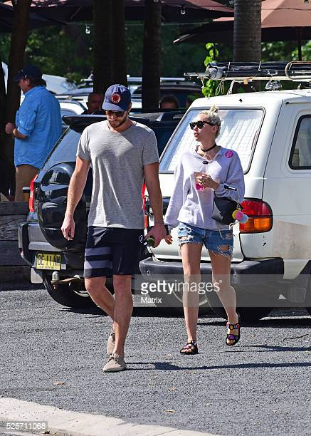 Liam Hemsworth and Miley Cyrus seen on April 29 2016 in Byron Bay Australia