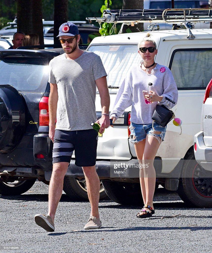 Liam Hemsworth and Miley Cyrus seen on April 29, 2016 in Byron Bay, Australia.