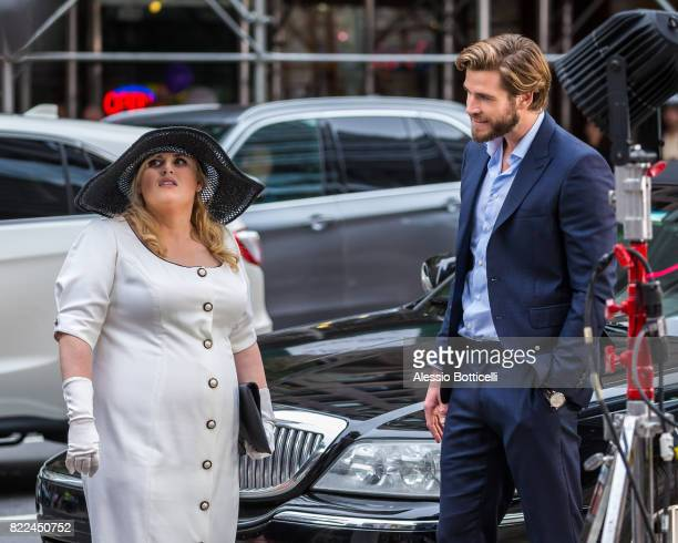 Liam Hemsworth and Rebel Wilson are seen filming 'Isn't It Romantic' on July 25 2017 in New York City