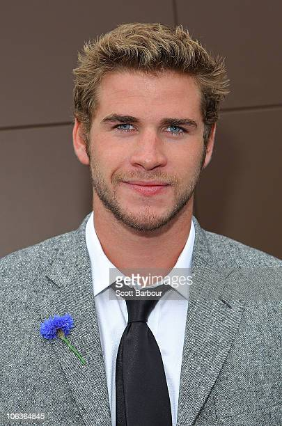 Liam Hemsworth arrives at AAMI Victoria Derby Day at Flemington Racecourse on October 30 2010 in Melbourne Australia