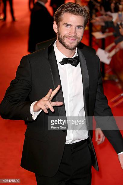 Liam Hemsworth arrives at The Hunger Games Mockingjay Part 2 Paris Photocall At Cinema Le Grand Rex on November 9 2015 in Paris France