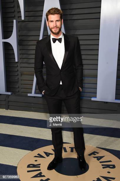 Liam Hemsworth attends the 2018 Vanity Fair Oscar Party hosted by Radhika Jones at the Wallis Annenberg Center for the Performing Arts on March 4...