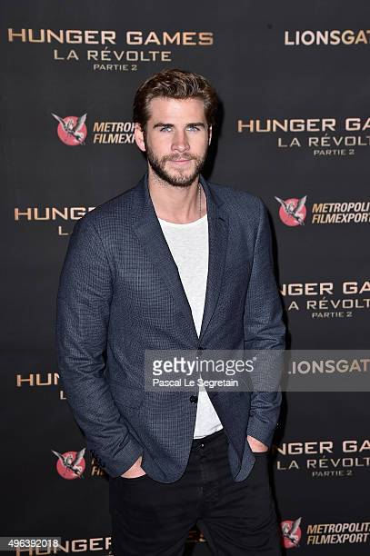 Liam Hemsworth attends the The Hunger Games Mockingjay Part 2 Photocall at Plazza Athenee on November 9 2015 in Paris France