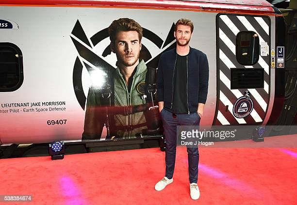 Liam Hemsworth attends the unveiling ceremony of the Independence Day Resurgence wrapped train on June 6 2016 in London United Kingdom