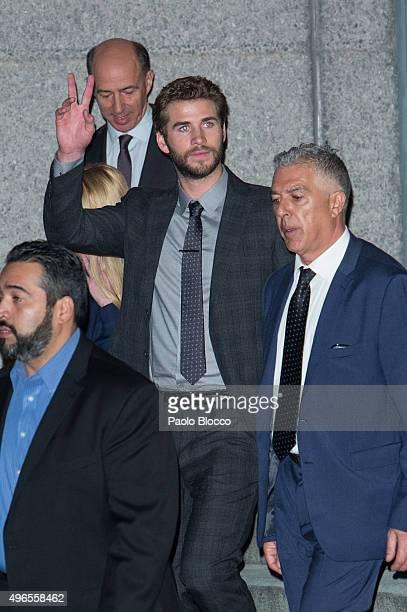Liam Hemsworth is seen on November 10 2015 in Madrid Spain