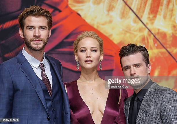 Liam Hemsworth Jennifer Lawrence and Josh Hutcherson attend The Hunger Games Mockingjay Part 2 world premiere on November 04 2015 in Berlin Germany