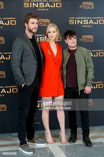 Liam Hemsworth, Jennifer Lawrence and Josh Hutcherson attend 'The Hunger Games: Sinsajo - Part 2' photocall at Villa Magna Hotel on November 10, 2015...
