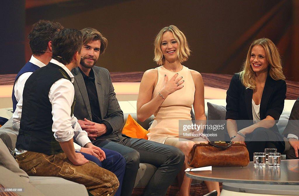 Liam Hemsworth, Jennifer Lawrence and Mirjam Weichselbraun attend Wetten, dass..? from Graz on November 08, 2014 in Graz, Austria.