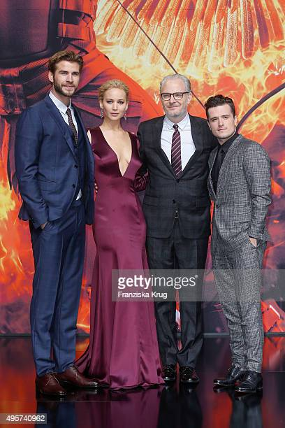 Liam Hemsworth Jennifer Lawrence Francis Lawrence and Josh Hutcherson attend The Hunger Games Mockingjay Part 2 world premiere on November 04 2015 in...