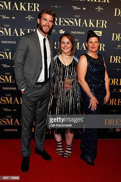 Liam Hemsworth Jocelyn Moorhouse and Sue maslin arrive ahead of the Australian premiere of 'The Dressmaker' on October 18 2015 in Melbourne Australia