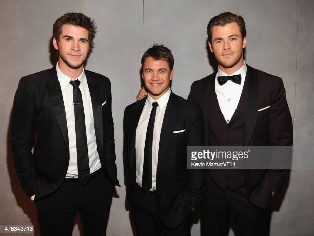 Liam Hemsworth, Luke Hemsworth and Chris Hemsworth attend the 2014 Vanity Fair Oscar Party Hosted By Graydon Carter on March 2, 2014 in West...
