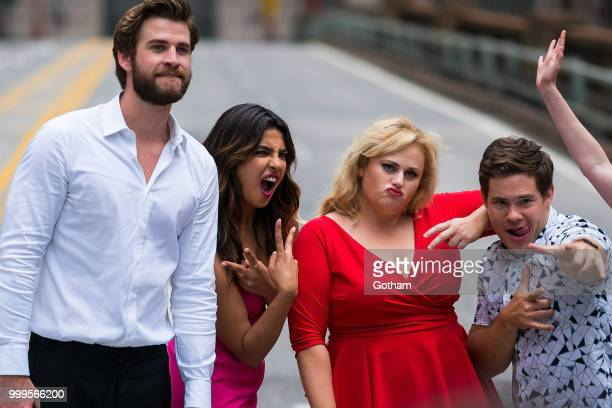 Liam Hemsworth Priyanka Chopra Rebel Wilson and Adam Devine are seen filming a scene for 'Isn't It Romantic' in Midtown on July 15 2018 in New York...