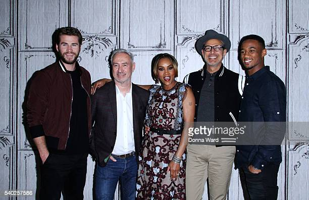 Liam Hemsworth Roland Emmerich Vivica A Fox Jeff Goldblum and Jessie T Usher appear to promote Independence Day Resurgence during the AOL BUILD...