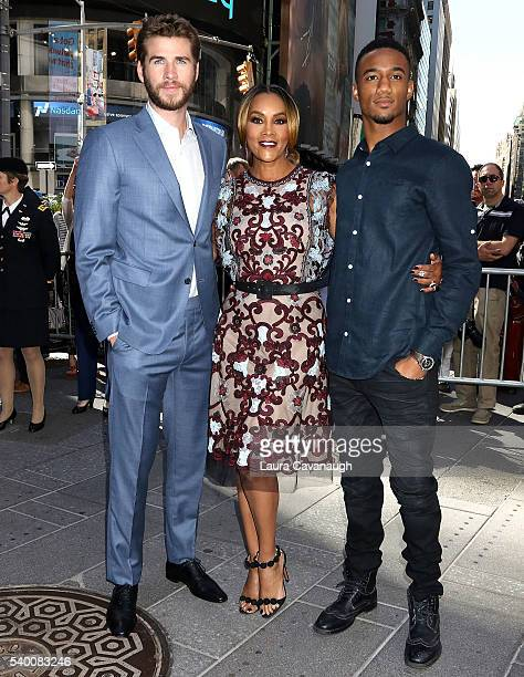 Liam Hemsworth Vivica A Fox and Jessie T Usher attend Independence Day Resurgence Cast Rings The Nasdaq Stock Market Opening Bell at NASDAQ...